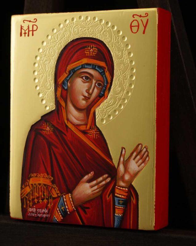 Theotokos Supplicating polished gold miniature Icon Hand Painted Byzantine Orthodox