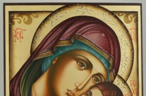 Theotokos Sweet Kissing Icon Hand Painted Orthodox