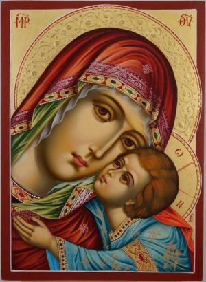 Theotokos Sweet Kissing Icon decorated halo Hand Painted Byzantine Orthodox