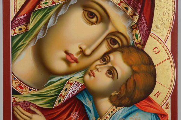 Theotokos Sweet Kissing Icon decorated halo Hand Painted Byzantine Orthodox