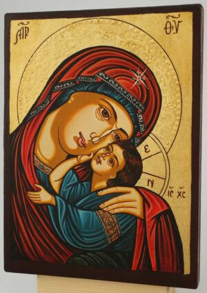 Theotokos Tenderness small Icon Hand Painted Byzantine Orthodox