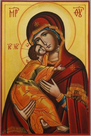 Theotokos of Vladimir Icon Hand Painted Byzantine Orthodox