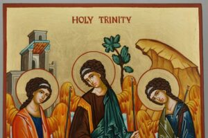 Holy Trinity Hospitality of Abraham Icon Hand Painted Byzantine Orthodox