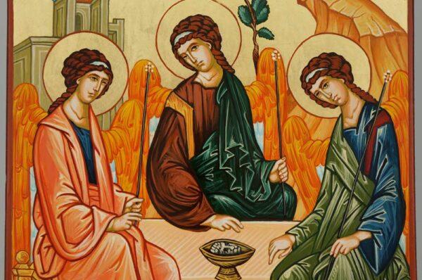 Holy Trinity Hospitality of Abraham Icon Hand Painted Byzantine Orthodox