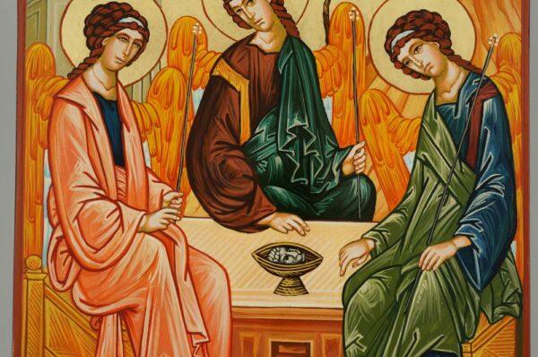 Holy Trinity Hospitality of Abraham Icon Hand Painted Orthodox