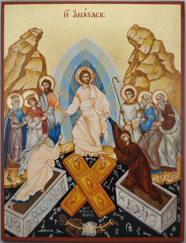 Resurrection Anastasis Icon Hand Painted Byzantine Orthodox