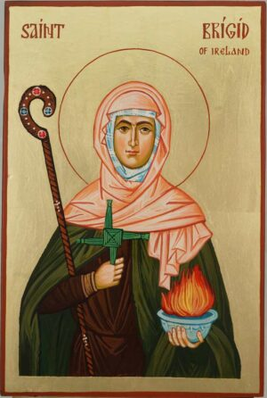Saint Brigid of Ireland Hand Painted Orthodox Icon on Wood