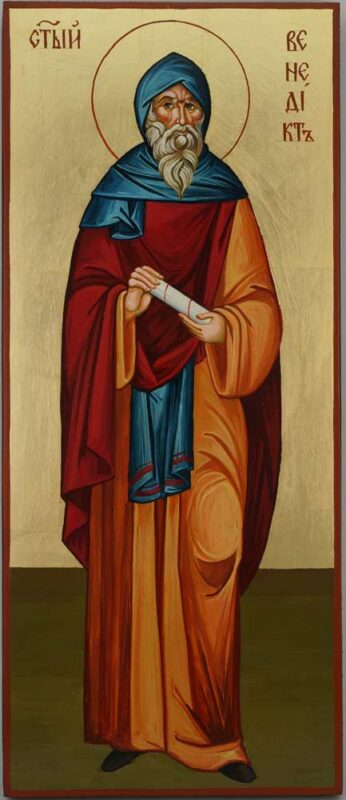 St Benedict of Nursia Icon Hand Painted Byzantine Orthodox