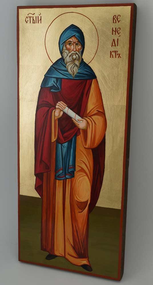St Benedict of Nursia Icon Hand Painted Byzantine Orthodox