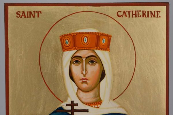 St Catherine of Alexandria Icon Hand Painted Byzantine Orthodox