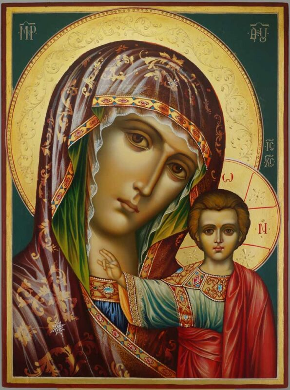 Theotokos of Kazan decorated halo Icon Hand Painted Byzantine Orthodox