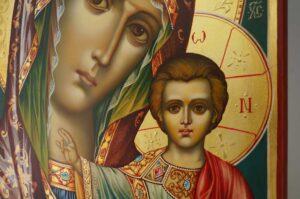 Theotokos of Kazan decorated halo Icon Hand Painted Byzantine Orthodox