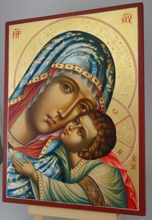 Virgin of Tenderness decorated halo Icon Hand Painted Byzantine Orthodox