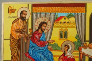 Mary Martha and Lazarus of Bethany Hand Painted Orthodox Icon on Wood