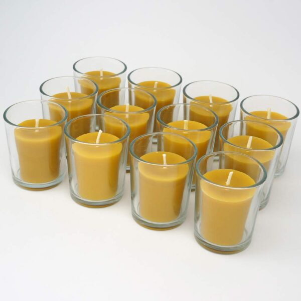 Pure Beeswax Votive Candles Hand Poured Organic and Natural