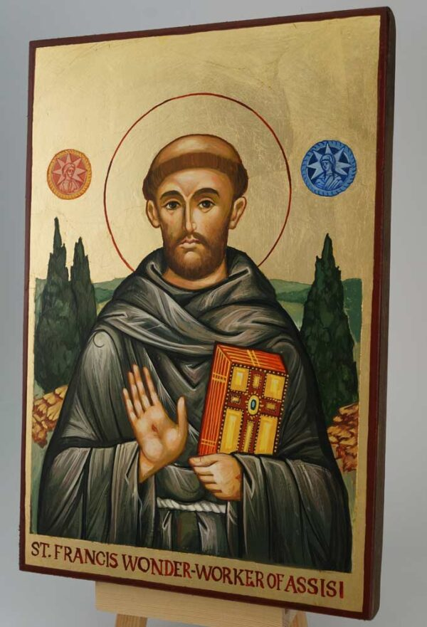 St Francis Wonder Worker of Assisi Icon Hand Painted Orthodox