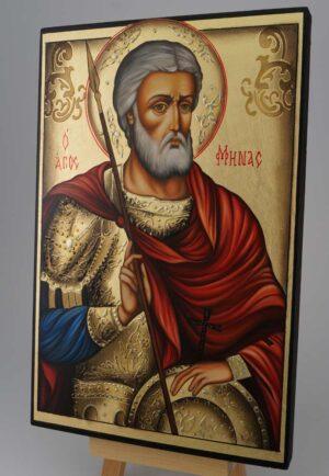 Saint Menas Icon Hand Painted Byzantine Orthodox