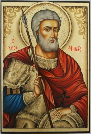 Saint Menas Icon Hand Painted Orthodox