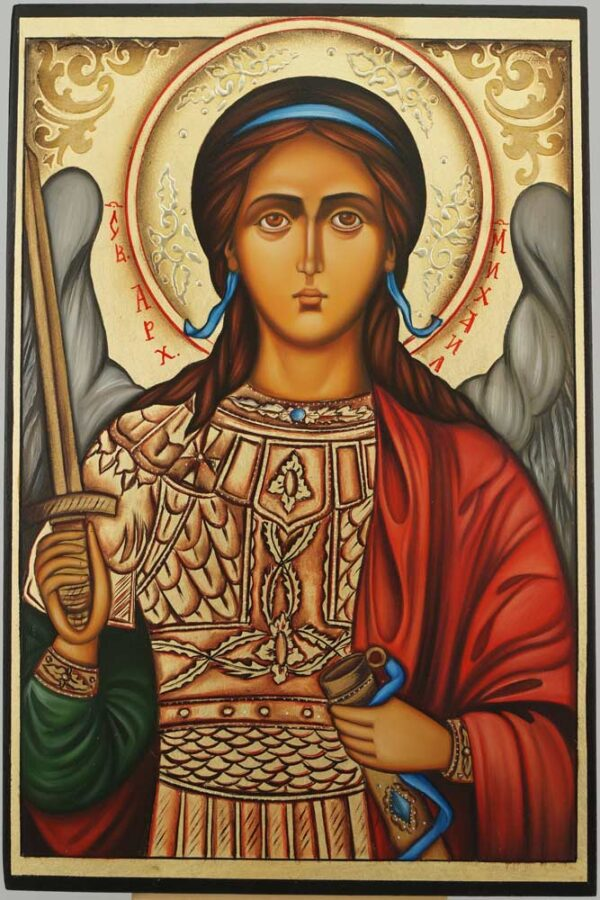 St Archangel Michael Icon Hand Painted Byzantine Orthodox