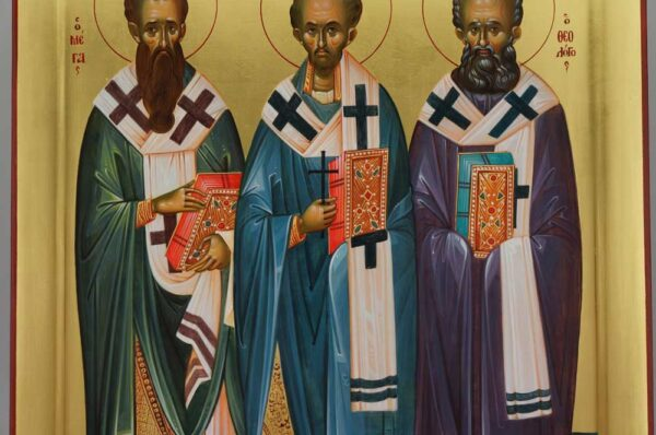 Three Holy Hierarchs Icon Hand Painted Byzantine Orthodox