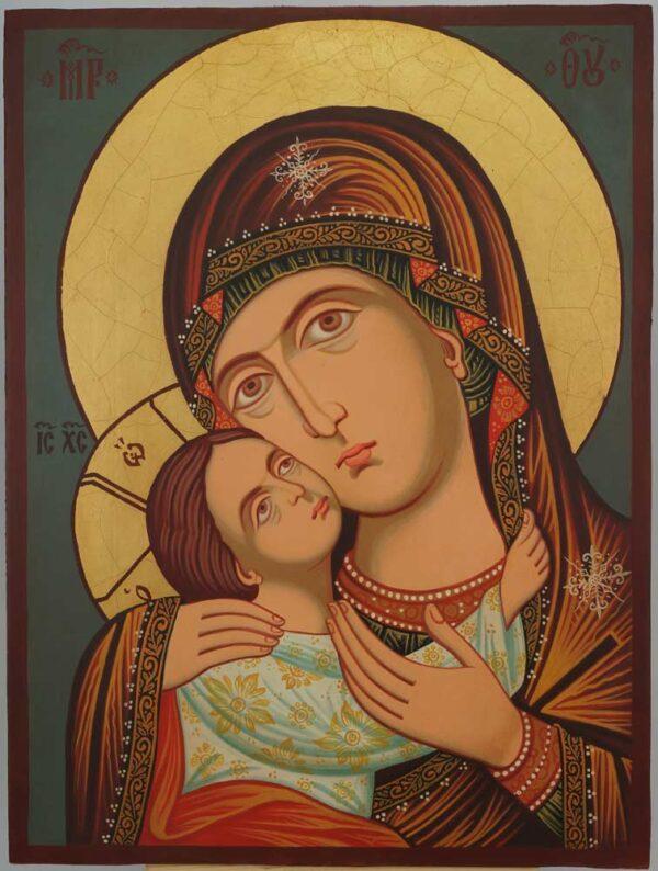 Virgin Mary Eleusa Rila Monastery Icon Hand Painted Orthodox