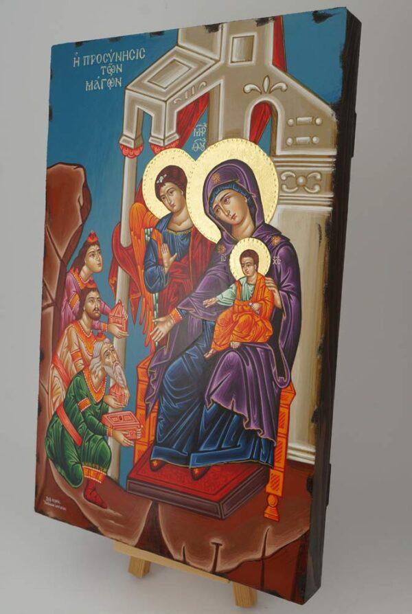 Adoration of the Magi Icon Hand Painted Greek Orthodox Byzantine