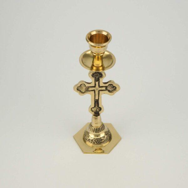 Cross Design Brass Candle Holder Candlestick