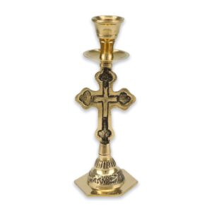 Cross Design Brass Candle Holder Candlestick