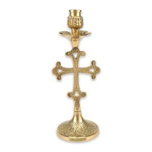 Cross Design Engraved Brass Candlestick Holder