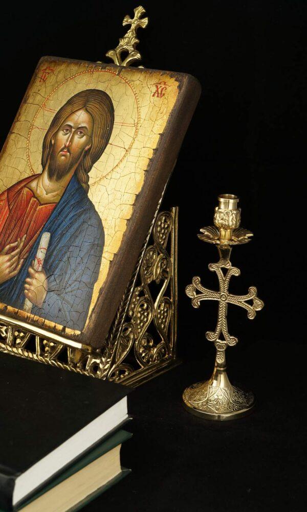 Cross Design Engraved Nickel Plated Candlestick Holder