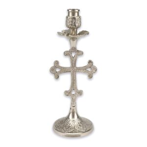 Cross Design Engraved Nickel Plated Candlestick Holder