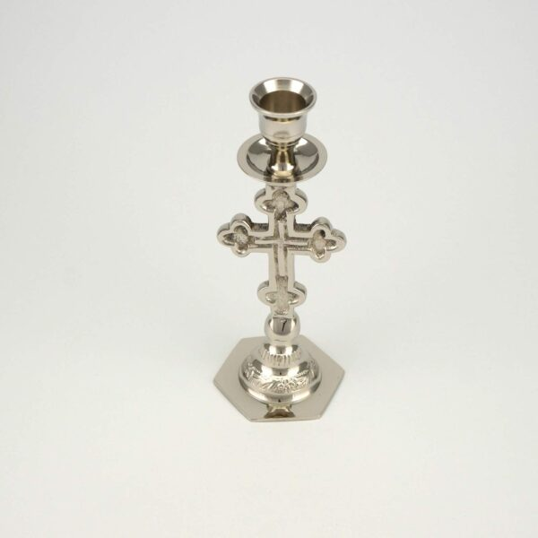 Cross Design Nickel Plated Candle Holder Candlestick