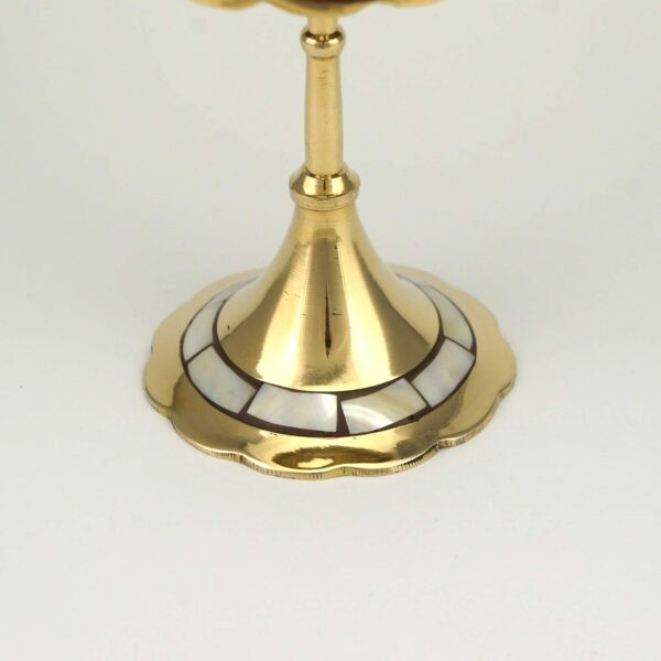 Deluxe Brass Seven Candle Stand with Mother Of Pearl Inlay Orthodox Church