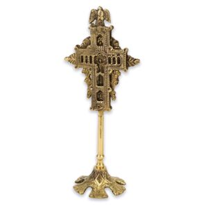Deluxe Brass Standing Cross Carved Design Orthodox