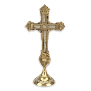 Deluxe Brass Standing Cross with Mother Of Pearl Inlay Orthodox Church