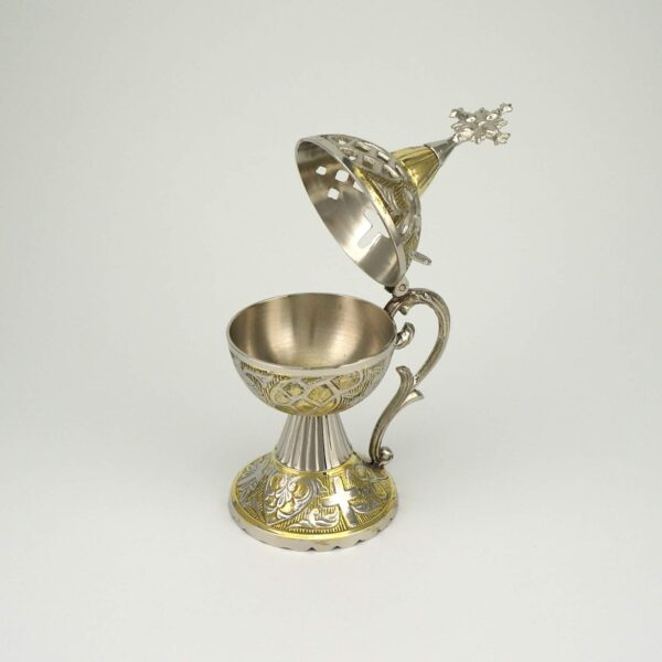 Deluxe Home Incense Burner Brass and Nickel Plated Orthodox Censer