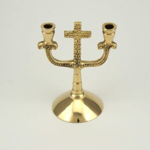 Double Brass Cross Design Candle Holder Orthodox