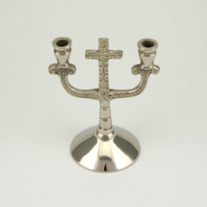 Double Nickel Plated Cross Design Candle Holder Orthodox