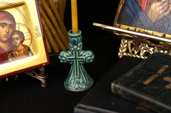 Green Orthodox Ceramic Candle Holder Cross Design