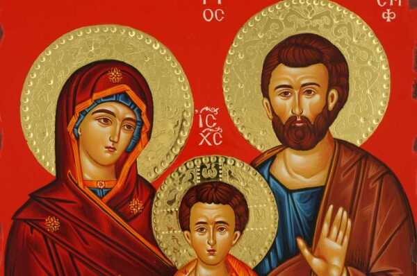 Holy Family Icon polished gold halos Greek Byzantine Hand Painted