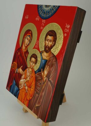 Holy Family Icon polished gold halos Greek Orthodox Hand Painted