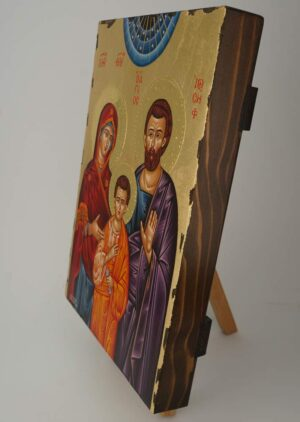 Holy Family Icon polished gold halos Hand Painted Greek Orthodox
