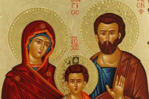 Holy Family Icon polished gold halos Orthodox Hand Painted