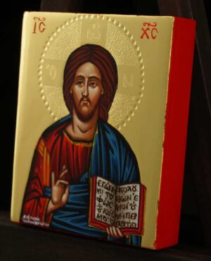 Jesus Christ Pantocrator Icon polished gold miniature Orthodox Hand Painted