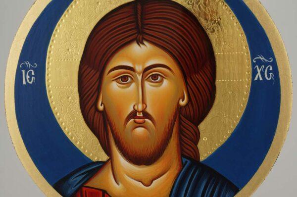 Jesus Christ Pantocrator Round Icon Hand Painted Greek Orthodox Byzantine