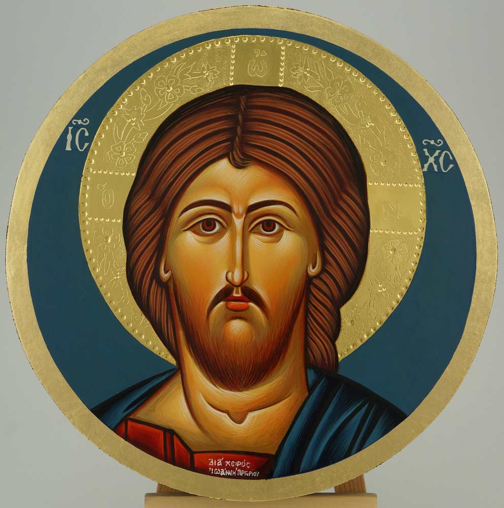 Jesus Christ Pantocrator Round Icon Orthodox Hand Painted