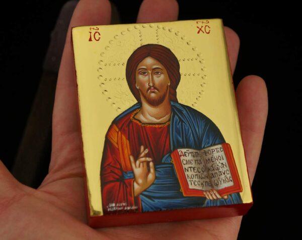 Jesus Christ Pantocrator polished gold miniature Icon Hand Painted Greek Orthodox