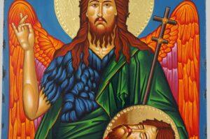John the Baptist Icon polished gold halos Hand Painted Greek Orthodox