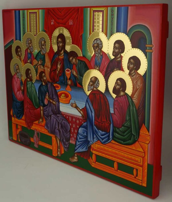 Mystical Supper Icon polished gold halos Orthodox Hand Painted
