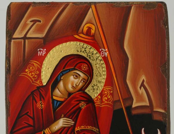 Nativity of Christ Icon polished gold halos Orthodox Hand Painted